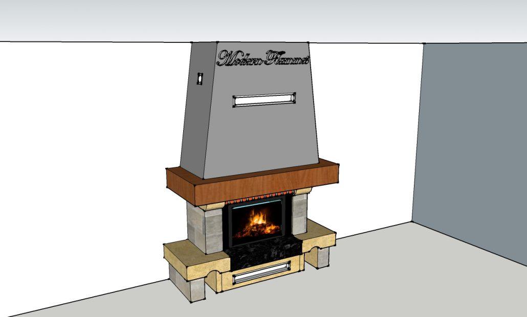 r alisation 3d modern flammes. Black Bedroom Furniture Sets. Home Design Ideas