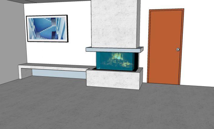 Cheminée à bois Brunner Panoramique Taninges Dessin 3D