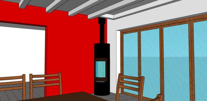 Poêle à bois Color & Fire Bons en Chablais dessin 3D